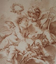 "GILLES DEMARTEAU (1722- 1776) Detail from one of our charming pair of 18th century French, chalk-manner etchings by master engraver, Gilles Demarteau (court engraver to King Louis XV). AVAILABLE through our gallery, AndreaFisherFineArt.com They are after the original rococo drawings by Francois Boucher and depict cherubs in allegorical scenes representing Music and Art. These etchings are laid on board and measure 22"" tall by 18"" wide in their contemporary giltwood, Louis XV- style frames…"