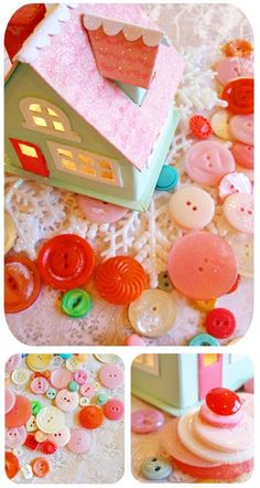 Paper house and buttons