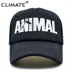 3b6195a7d45 CLIMATE Men Animal GYM Mesh Trucker Caps Animal Print Fitness Fans Black  Mesh Cap Body building