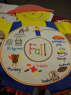 Fall Circle map. Great way to review! Get the kids involved by having them draw the pictures and write the words.