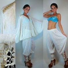 d6662a2c1cd Reserved - Vintage 70s White GAUZE Indian Ethnic Jumpsuit. Crochet Cotton  Kimono Jacket Harem Dress Pants Sheer Boho Extra Small - Large