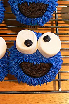 Cookie Monster Cupcakes - probably a little too advanced for me