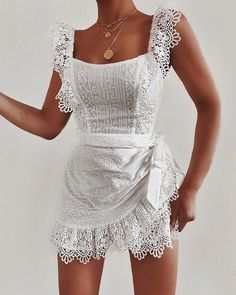 Solid Eyelet Embroidery Guipure Lace Dress, Awesome US Women's Short Bridesmaid Dress Square Chiffon Mother Party Dress Trendy Outfits, Summer Outfits, Cute Outfits, Fashion Outfits, Summer Dresses, Dress Outfits, Woman Outfits, Summer Clothes, Fashion Clothes