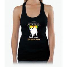 Never underestimate OLD MAN is VIETNAM VETERAN TShirt Womens Tank Top