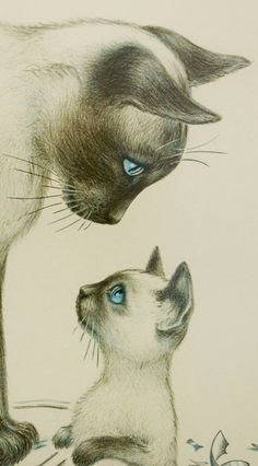 Irene Spencer Artist Signed, Limited Edition Lithograph, Print w/ Siamese Cats (Detail)