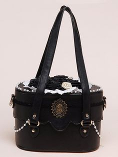 Black PU Leather Roses Decorated Lolita Bag by Milanoo