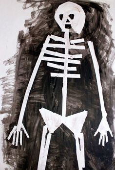 If you're looking for fun Halloween art ideas for kids, try this full-sized tape resist skeleton paintings using their own body tracing. Halloween Kunst, Halloween Painting, Projects For Kids, Art Projects, Crafts For Kids, Project Ideas, Fall Crafts, Halloween Crafts, Halloween Ideas