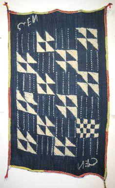 Burkina indigo stitched resist strip weave cotton - Burkina Faso.