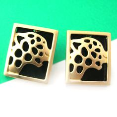Square Jaguar Leopard Cat Animal Stud Earrings in Gold on Black $6 #jaguar #leopard #earrings #gold