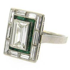Exquisite Art Deco Emerald Diamond Platinum Engagement Ring | eBay