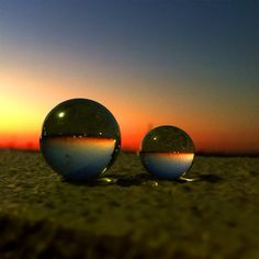 夕陽とビー玉