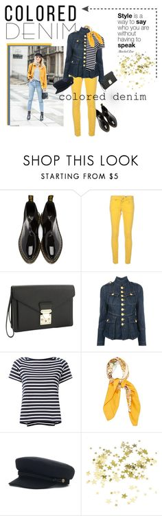 """""""Colored Denim"""" by deeann ❤ liked on Polyvore featuring Dr. Martens, M Missoni, Louis Vuitton, Dsquared2, Sacai and Hermès"""