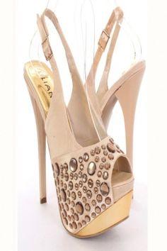 Champagne Satin Fabric Studded Peep Toe Slingback Platform Heels
