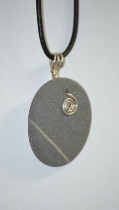 Australian Beachstone Pendant with Silver Spiral by SeaLights