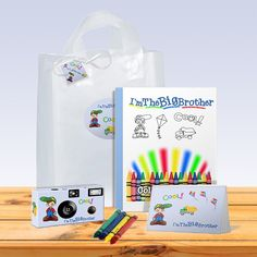 Big brother gift bag in blue. Everything he needs to capture memories of the new baby and treasure them in his photo album. Give him a gift he will love. Pack Of Crayons, Brother Photos, Big Sister Gifts, Non Toy Gifts, Thanks For The Memories, Album, Childhood Memories, Gifts For Kids, Gift Guide