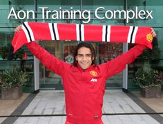 Enjoying his first day at the office, @manutd forward Radamel Falcao arrives at the Aon Training Complex.