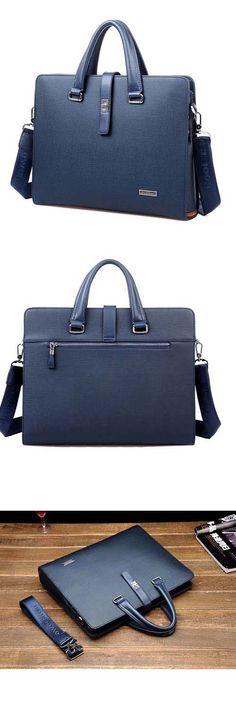 Business style belt element, men's #blue genuine leather shoulder #satchel bag