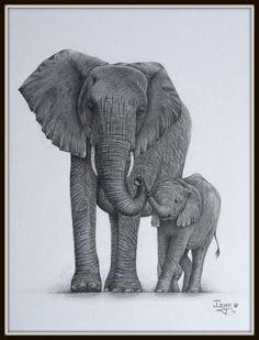 Mommy & baby elephant Baby Elephant Drawing, Elephant Family Tattoo, Mother And Baby Elephant, Elephant Tattoo Design, Baby Drawing, Elephant Love, Elephant Tattoos, Elephant Art, African Elephant