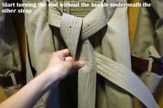 How to properly tie a classic Burberry trench coat knot in two ways in photos (Unisex)  |   Save. Spend. Splurge.