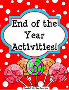"""This cute printable packet has a lot of fun """"End of the Year Activities"""" for students to reminisce on their past year. This is great for students to complete and take home on the last day of school as a Memory Book. $"""