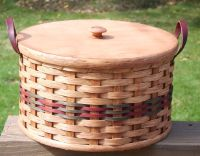 Pie Carrier Basket w/Leather Loop Handles - Round - Double - IN GREEN AND RED