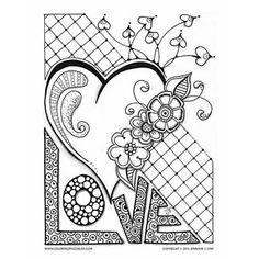 This Valentines Coloring Page With Its Whimsical Heart Flowers And Other Shapes Is Dedicated