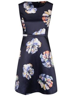 Tmavě modré šaty s květy Smashed Lemon