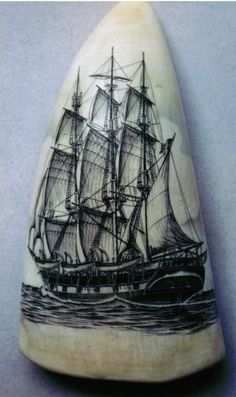 "TWO BROTHERS   Scrimshaw on 5"" sperm whale tooth -  built in 1816, refitted as whaler in 1831 in New Bedford MA and worked until 1864.  New Bedford Whaling Museum."