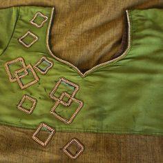 Aari/Maggam hand embroidery stone work design on churidar/Kurti Pattu Saree Blouse Designs, Blouse Designs Silk, Designer Blouse Patterns, Bridal Blouse Designs, Embroidery Neck Designs, Hand Embroidery, Mirror Work Blouse Design, Simple Blouse Designs, Neck Designs For Suits