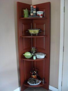 Got this idea from Pinterest - had an old door, made shelving and we have this new beautiful shelf!