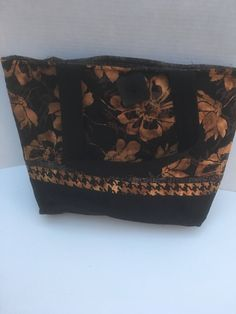 A personal favorite from my Etsy shop https://www.etsy.com/listing/532014187/brown-and-black-flowers-quilted-tote
