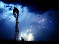 Windmill and lightning.
