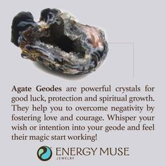 Agate Geodes are powerful crystals for good luck, protection and spiritual growth. They help you to overcome negativity by fostering love and courage. Whisper your wish into your geode and feel their magic start working! Crystal Healing Stones, Crystal Magic, Stones And Crystals, Gem Stones, Agate Geode, Crystal Meanings, Minerals And Gemstones, Reiki, Magick