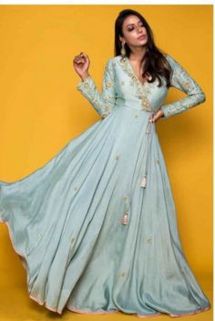 Cadet Blue Angrakha Style Suit In Raw Silk With Pink Net Dupatta Online - Kalki Fashion Indian Fashion Dresses, Indian Gowns Dresses, Dress Indian Style, Indian Designer Outfits, Indian Long Dress, Kurti Designs Party Wear, Lehenga Designs, Indian Wedding Outfits, Indian Outfits