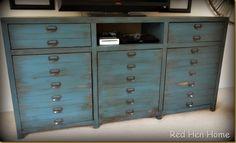 Triple Printers Console Cabinet