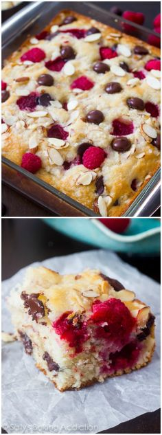 This dark chocolate raspberry coffee cake combines juicy raspberries, dark chocolate, and buttery almond streusel to make an unforgettable breakfast cake! Mini Desserts, Just Desserts, Delicious Desserts, Yummy Food, Baking Recipes, Cake Recipes, Dessert Recipes, Raspberry Coffee Cakes, Raspberry Chocolate