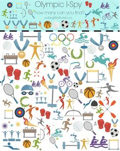 Making Life Blissful: 8 Easy Olympic Party Ideas for Kids and free printable Olympic I Spy Game! I Spy Games, Printable Board Games, Party Activities, Free Printables, Printable Worksheets, Crafts For Kids, Crafty, Feelings, Party Ideas