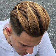 Slicked Back Hair with Fade Best Mens Hairstyles: Cool Haircuts For Guys Mohawk Hairstyles Men, Cool Mens Haircuts, Men's Haircuts, Fresh Haircuts, Crazy Hairstyles, Hairstyle Men, Medium Hairstyles, Hairstyle Ideas, Short Hair Cuts