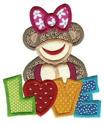 Valentine Sock Monkey 4 Applique - 2 Sizes! | Words and Phrases | Machine Embroidery Designs | SWAKembroidery.com Designs by Juju