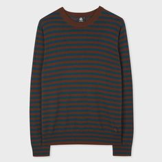 Paul Smith Men's Brown And Teal Breton-Stripe Merino Wool Sweater