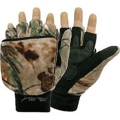 Mossy Oak Break Up. Jacob Ash Bulls Eye Mitten Features:  Fleece fingerless glove with pop-top mitten  Thinsulate insulation and tricot lining  Sure grip palm patch  Fleece snow cuff  Mozzy Oak Break Up or Blaze Orange Color Contents:  One Pair of Jacob Ash Bulls Eye Mitten