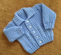 JACKNITSS  HAND KNIT BLUE  CARDIGAN SIZE 0 TO 6 MONTHS