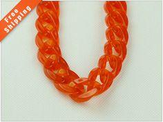 Livraison gratuite-translucide rouge chaîne, ouvert chaîne à maillons acrylique, chaîne en plastique, grosse Gourmette, 23x18mm, paquet de 1m (1,1 yards.), N0K6. RE50. L1M
