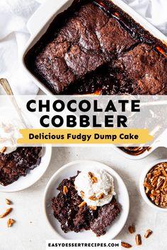Easy Chocolate Pudding, Chocolate Cobbler, Chocolate Treats, Best Chocolate, Delicious Chocolate, Chocolate Recipes, Easy No Bake Desserts, Delicious Desserts, Cake Recipes