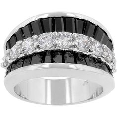 Kate Bissett Silvertone Created Onyx and Cubic Zirconia Fashion Ring (Size ) Women's