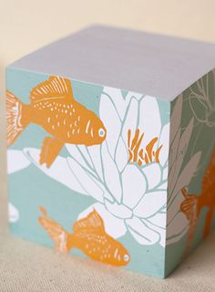 """Koi attachment,1pk 3.5"""" cube 700 eco sticky notes - 100%  recycled paper. (made with love in upstate New York).  $18.00  #postits #stationery  #koi #Oriental"""