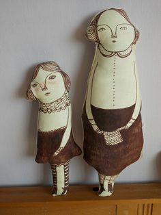 cloth dolls cool contemporary hand painted fabric art plushie dolls mum and daughter