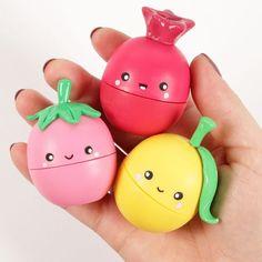 Create an eos lip balm flavors shaped like fruits! this eos tutorial features eos strawberry sorbet lip balm, eos lemon drop lip balm and eos pomegranate ras. Fruit Crafts, Eos Diy Crafts, Kawaii Fruit, Eos Lip Balm, Lip Balms, Baby Lips, Cute Makeup, Lip Care, The Balm