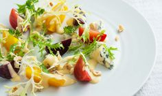 #Maille recipe - Roasted Baby Beetroots with Hazelnuts, Blue Cheese and Maille Mustard.