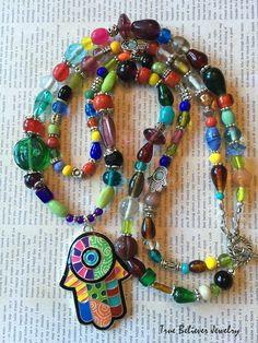Happy Hamsa 3 – Multicolor Enameled Hamsa Double Strand Necklace